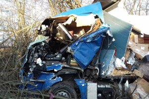 Zakliesneného vodiča museli z kabíny auta vyslobodiť hasiči.