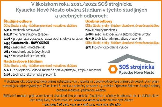 V školskom roku 2021/2022 si môžete vybrať z týchto odborov: