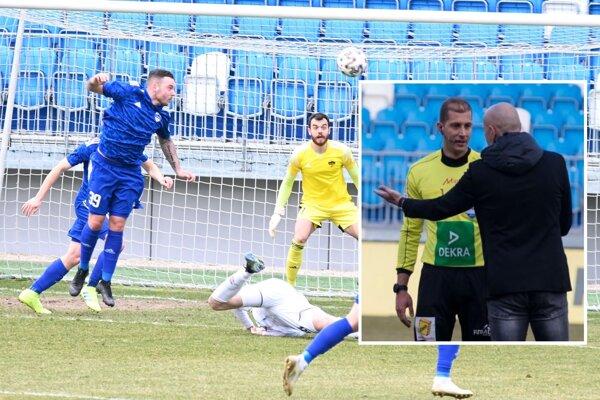 Po tomto páde ex-Nitrana Balaja (na zemi) pri Regäselovi (vo výskoku) zapískal rozhodca Očenáš penaltu pre FC ViOn, ktorá v kontexte s ďalšími udalosťami nesedela domácemu trénerovi Petrovi Lérantovi (v čiernom).