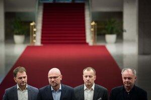 5. marec 2020. Igor Matovič, Boris Kollár, Andrej Kiska a Richard Sulík na spločnej večeri pred začiatkom koaličných rokovaní o vytvorení vládnej koalície.
