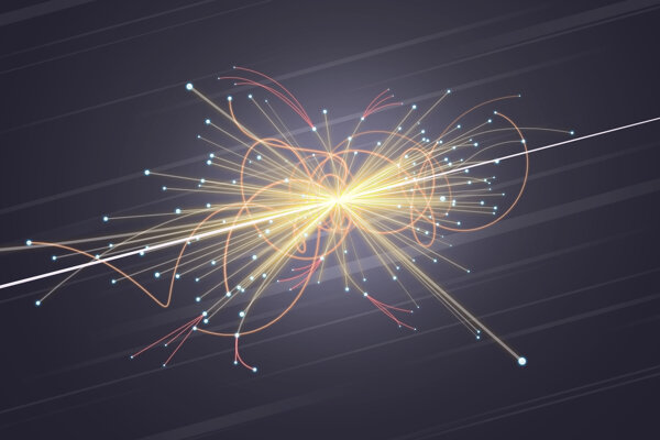 Ilustračný záber zrážky častíc v LHC.