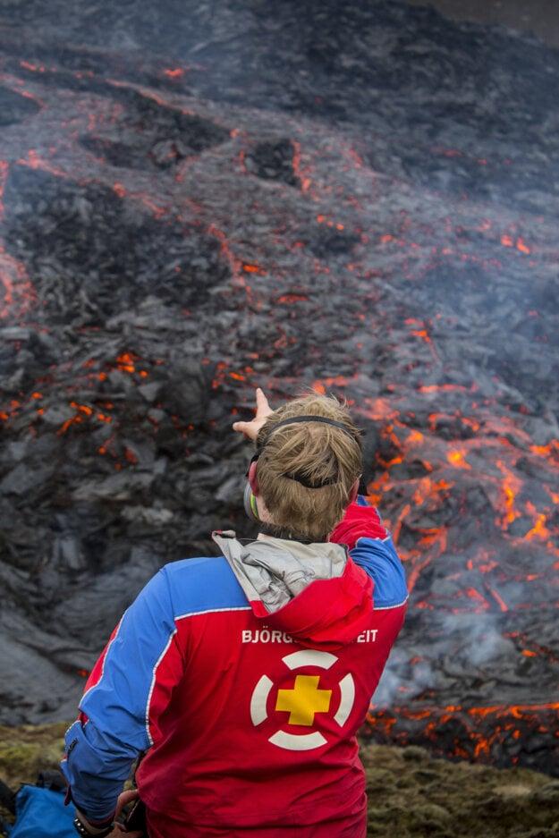 Erupcia sopky na polostrove Reykjanes.