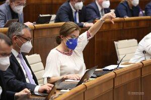 Poslankyňa parlamentu za stranu Sloboda a Solidarita Anna Zemanová (vpravo) počas rokovania 25. schôdze Národnej rady SR.