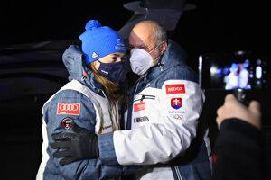 Petra Vlhová po prílete na Slovensko z MS v zjazdovom lyžovaní 2021. Na letisku ju čakal otec Igor Vlha.
