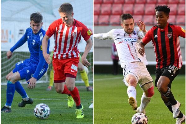 Samuel Šefčík (v modrom) v zápase Sereď - Nitra (2:1) a Anton Sloboda (v bielom) v zápase Trnava - FC ViOn (3:0).