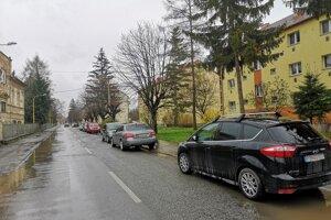 Parkovanie na ulici Tarasa Ševčenka. Pri zavedení regulácie parkovania sa ulica zjednosmerní a vytvorí sa 91 parkovacích miest.