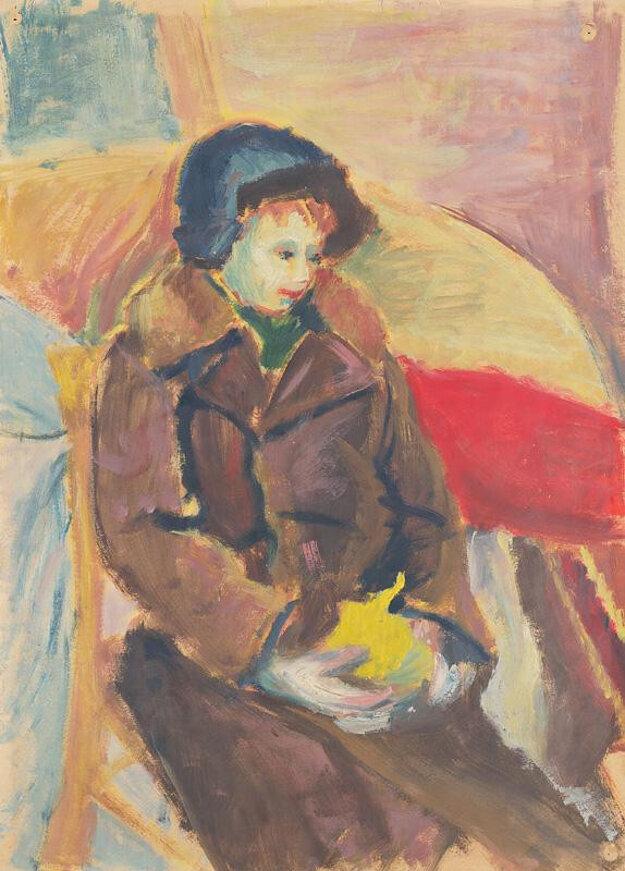 Sediaci chlapček, výtvarné dielo Janka Nováka.