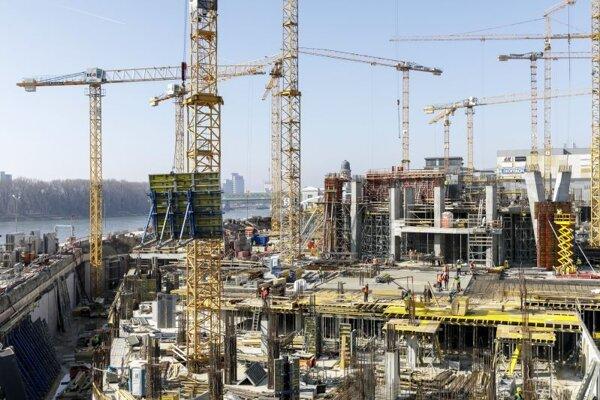 Výstavba projektu Eurovea 2, v Bratislave 4. marca 2021.