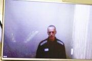 Navaľnyj na obrazovke moskovského súdu.