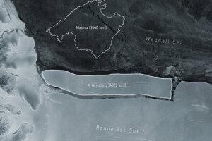 Ľadovec známy ako A-76 spozorovali na najnovších snímkach zachytených družicovou misiou Sentinel-1.