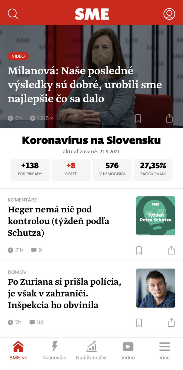 Titulná obrazovka aplikácie SME.sk