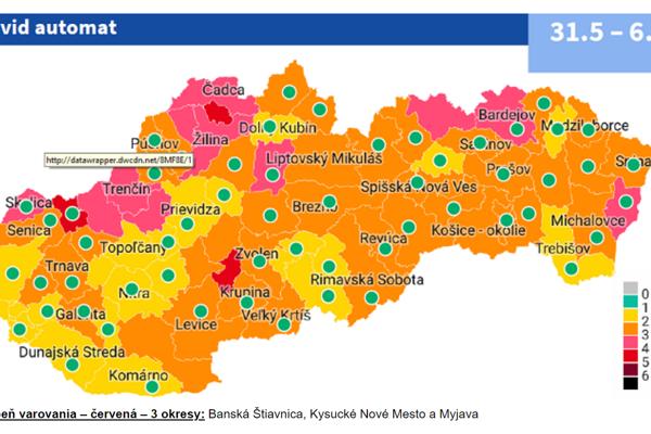 Mapa okresov podľa Covid automatu platného od 31.5.