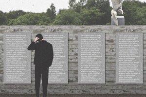 Mená padlých umiestnené v srdci zákopu. Vizualizácia Pamätníka padlým vojakom v Nižnej Polianke, jej autormi sú Ing. arch. Maroš Drobňák a Ing. arch. Radoslav Hamara.