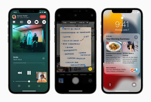 Novinky v iOS 15: Zdieľanie hudby a videí v hovoroch, kopírovanie textu z obrázkov, nové notifikácie.