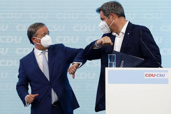 Lídri CDU Armin Laschet a CSU Markus Soeder.