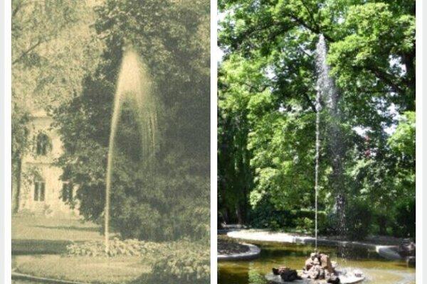 Jazierko s vodotryskom kedysi a dnes.