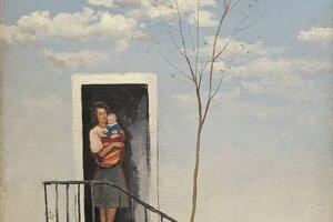 Čakanie z roku 1947 zachytáva ženu s dieťaťom.