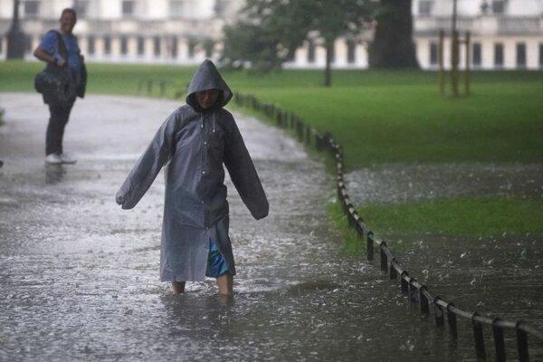Kaluže v londýnskom parku St. James.