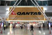 Prázdny terminál austrálskej leteckej spoločnosti Qantas na letisku v Sydney.