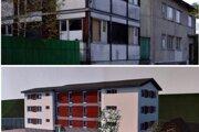 Starý objekt pred asanáciou v porovnaní s vizualizáciou novej bytovky.
