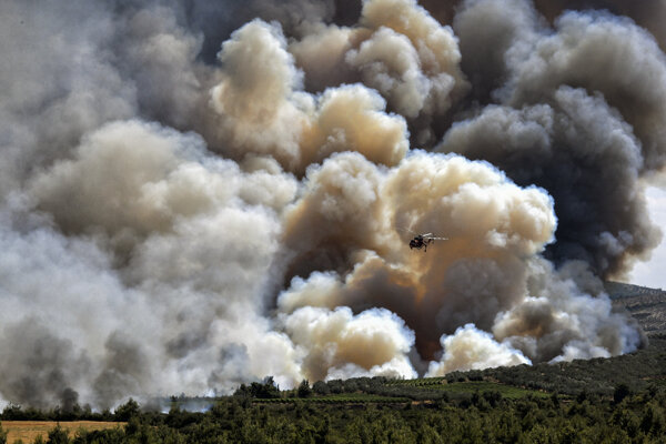 Lesný požiar v Korinte v auguste 2021.