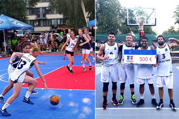 Vľavo momentka zo zápasu ženského turnaja. Vpravo víťazi elitnej mužskej kategórie - 3x3 Team Graz.