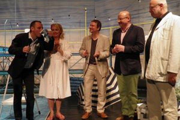 Krst CD - zľava Svetozár Sprušanský, Eva Pavlíková a textári Miro Jurika, MartinSarvaš a Ján Štrasser.