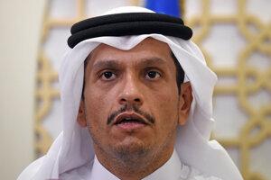 Katarský minister zahraničných vecí, šejk Muhammad bin Abdarrahmán Ál Sání.