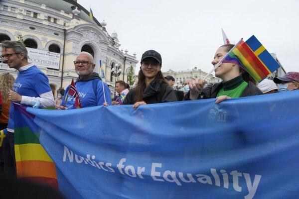 Pochod za práva LGBT v Kyjeve.