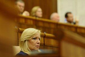 Iveta Radičová  po poslednom rokovaní parlamentu SR v tomto volebnom období, 9. februára 2012.