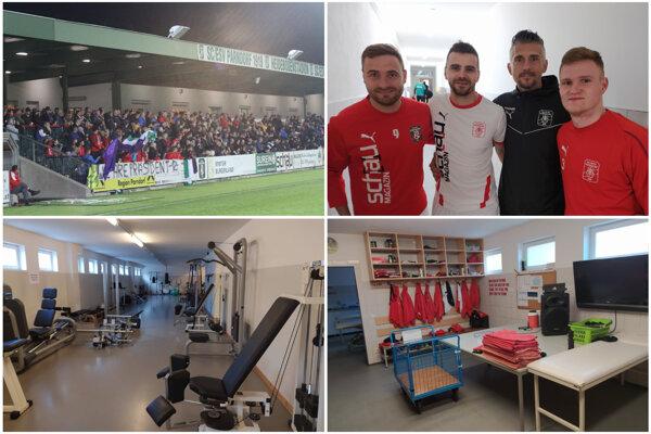 Nitrania (zľava) Mikuš, Charizopulos, Szombat a Ďurek si v Parndorfe užívajú výborné výsledky, plnú tribúnu a perfektné klubové zázemie.
