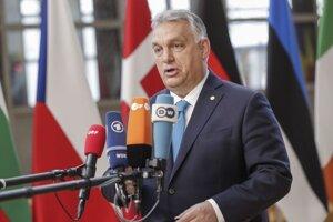 Predseda maďarskej vlády Viktor Orbán po príchode na dvojdňový summit lídrov členských krajín Európskej únie.