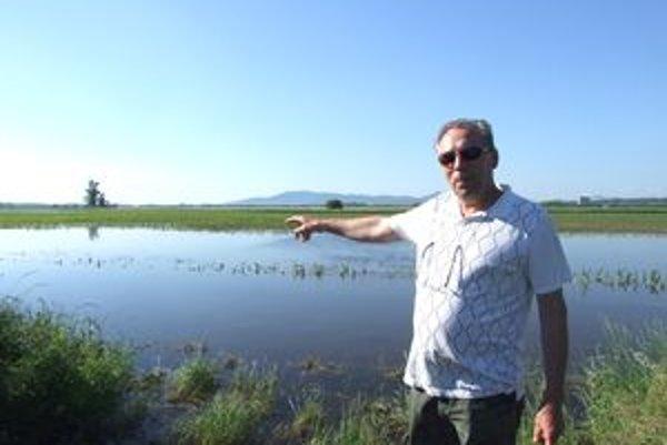 Dušan Janovič pred poľom vo Veľkom Cetíne. Plávajú na ňom ryby. Rybári ich odchytia, až keď klesne voda.