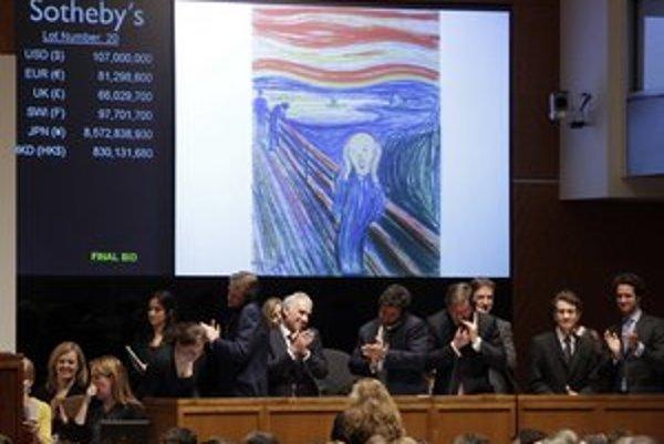 Po vzrušení prišiel potlesk. V newyorskej aukčnej sieni Sotheby's  sa za 120 miliónov dolárov vydražil Výkrik nórskeho maliara Edvarda Muncha. Tým sa prekonal rekord 106,5 milióna, za ktorý sa pred rokom predal obraz Akt, zelené listy a busta od Pabla