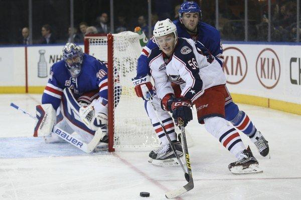Marko Daňo (s číslom 56) sa v NHL presadil do zostavy Columbusu hneď vo svojej premiérovej sezóne.