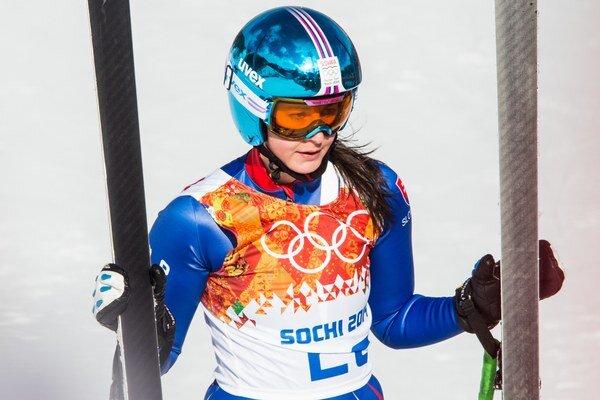 Slovenská reprezentantka v alpskom lyžovaní Jana Gantnerová v cieli pretekov v superkombinácii žien na ZOH 2014 v Soči.