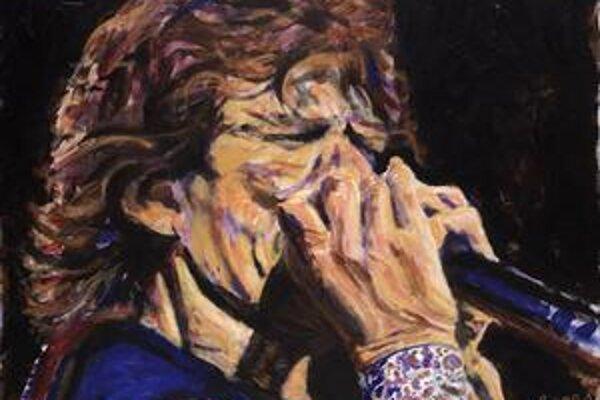 Mick Jagger zobrazený svojím kolegom z kapely Ronniem Woodom.
