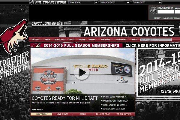 Takto vyzerá internetová stránka Arizony Coyotes.