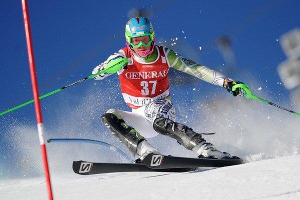 Slovák Adam Žampa počas 1. kola slalomu Svetového pohára v alpskom lyžovaní vo francúzskom stredisku Val d'Isere.