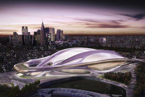 Na umeleckej snímke nový národný štadión, ktorý bol navrhnutý pre olympijské hry 2020 v Tokiu.