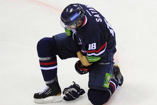 Miroslav Šatan zo Slovana počas zápasu KHL medzi HC Slovan Bratislava a Sibir Novosibirsk 30. októbra 2012.