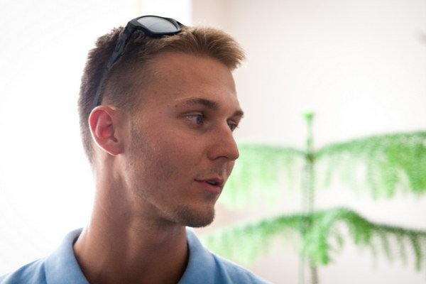 Dvadsaťročný Viktor Demin, najmladší člen zlatého slovenského štvorkajaku na šampionáte do 23 rokov.