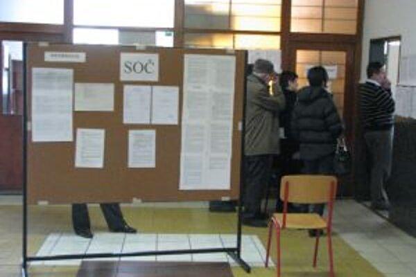 Ľudia stáli na voľby v rade.