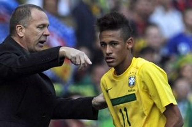 Neymar a tréner Brazílie Mano Menezes.
