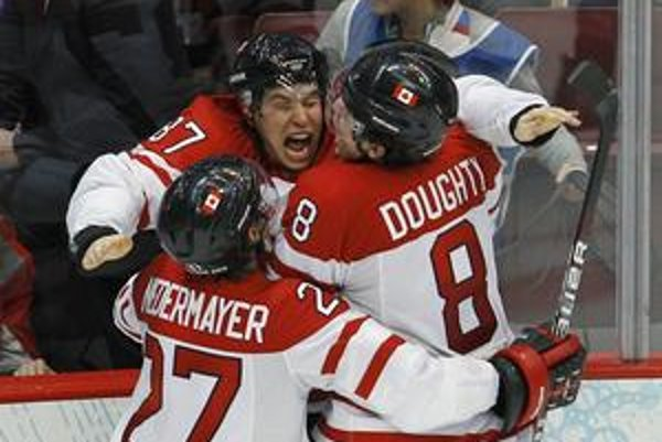 Radosť Kanaďanov po víťaznom góle Sidneyho Crosbyho.