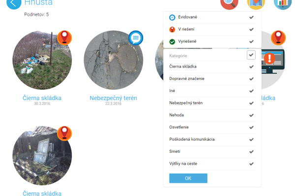 Aplikácia poskytuje aj prehľad riešenia podnetov