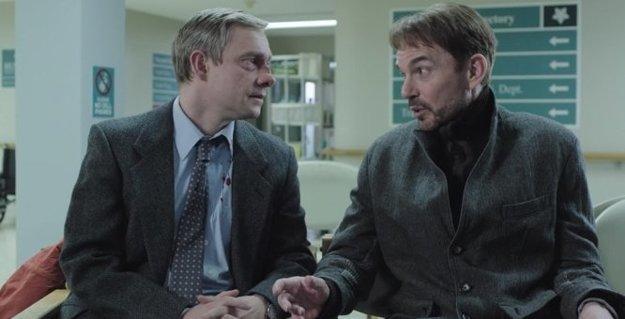 Nájomný vrah Lorne Malvo (Billy Bob Thornton) a miestny smoliar Lester Nygaard (Martin Freeman). Seriál Fargo