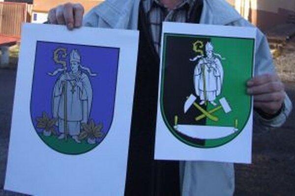 Vľavo súčasný erb Repišťa, vpravo jeho nový návrh.