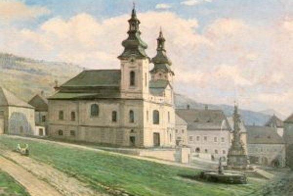 Obraz zdobil oltár kostola, ktorý zbúrali. Takto chrám vyzeral. Olej na plátne Bélu Angyala.