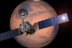 Pohľad na sondu EU v blízkosti Marsu